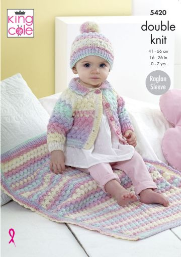 Cardigan, Hat and Blanket Knitting Pattern King Cole 5420, 0-7 years